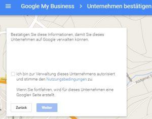 Unternehmen in Google MyBusiness bestätigen
