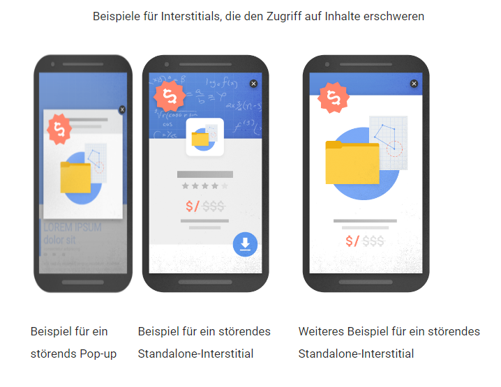 Google Updates verbotene Interstitials Pop Ups Overlays