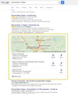 MyBusiness Eintrag Suche nach lokaler Unternehmenskategorie Blumenladen