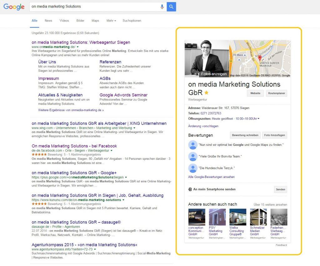 Google Suche Unternehmensname, Anzeige in MyBusiness