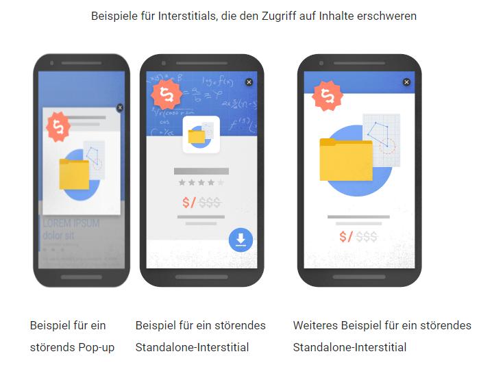 Google Updates verbotene Interstitials Pop Ups Overlays