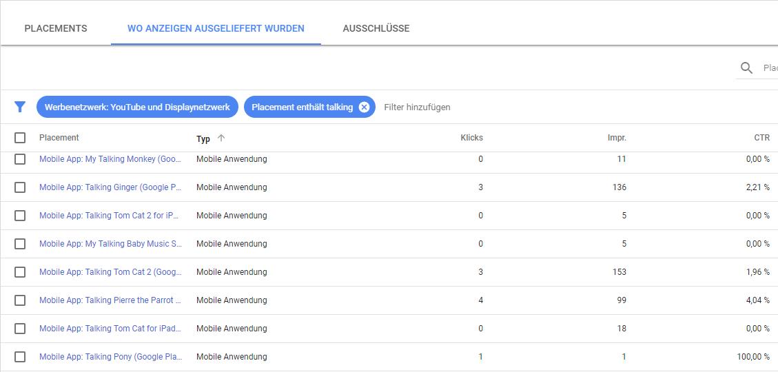 Placement-Bericht in der neuen Google AdWords Beta Oberfläche - Schaltung von Anzeigen in Apps die für Kinder gedacht sind