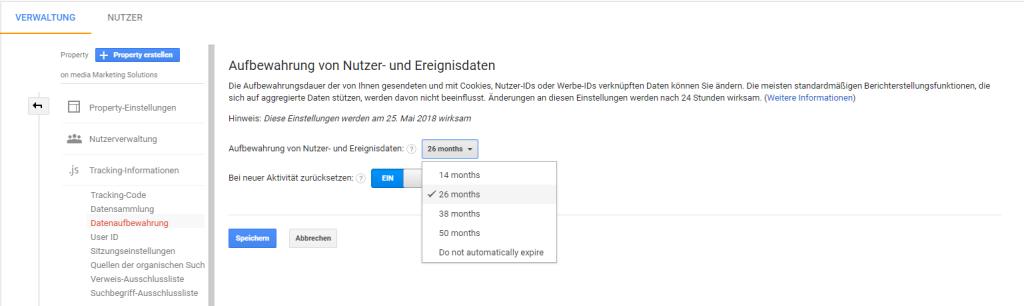 Screenshot aus Google Analytics zur Datenaufbewahrung