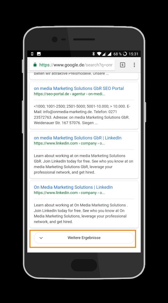 Google Suche mobil - Weitere Ergebnisse
