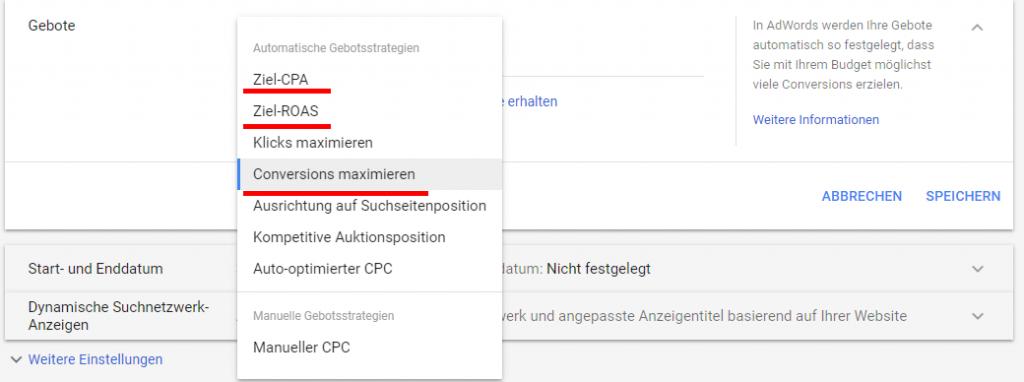 verfügbare Gebotsstrategien bei aktivierten Conversion Tracking in Google AdWords