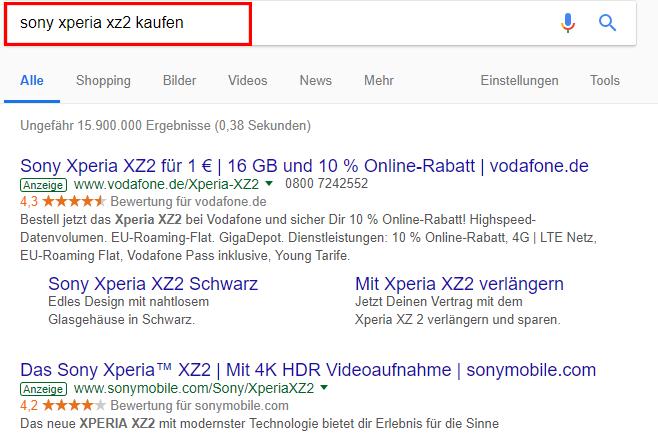 Screenshot der Google AdWords Suchnetzwerk Anzeigen