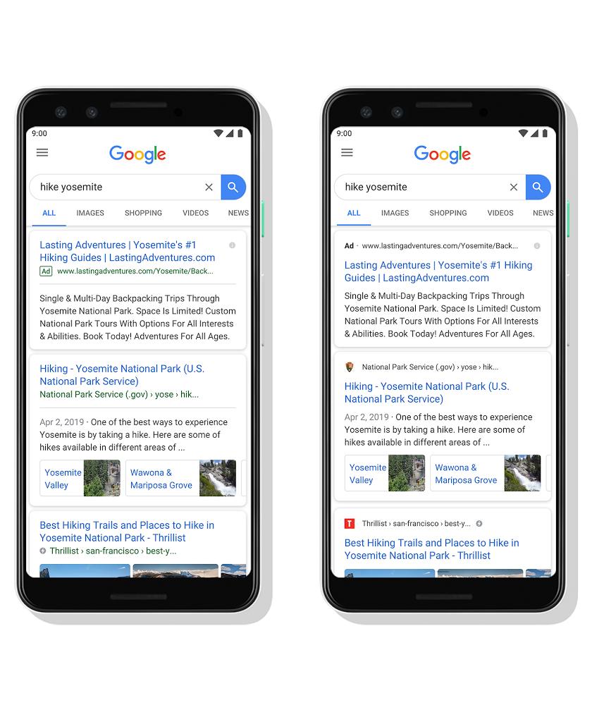 Vergleich alte Google Suche und neue Suche